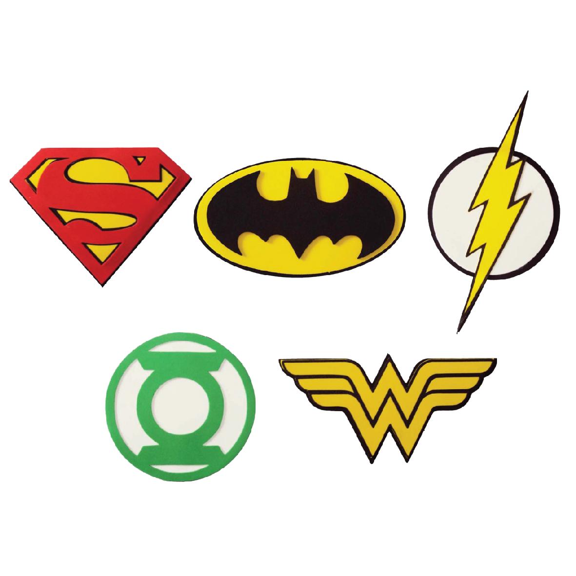 Kit Mini Simbolos Liga da Justiça c/ 5 un 1