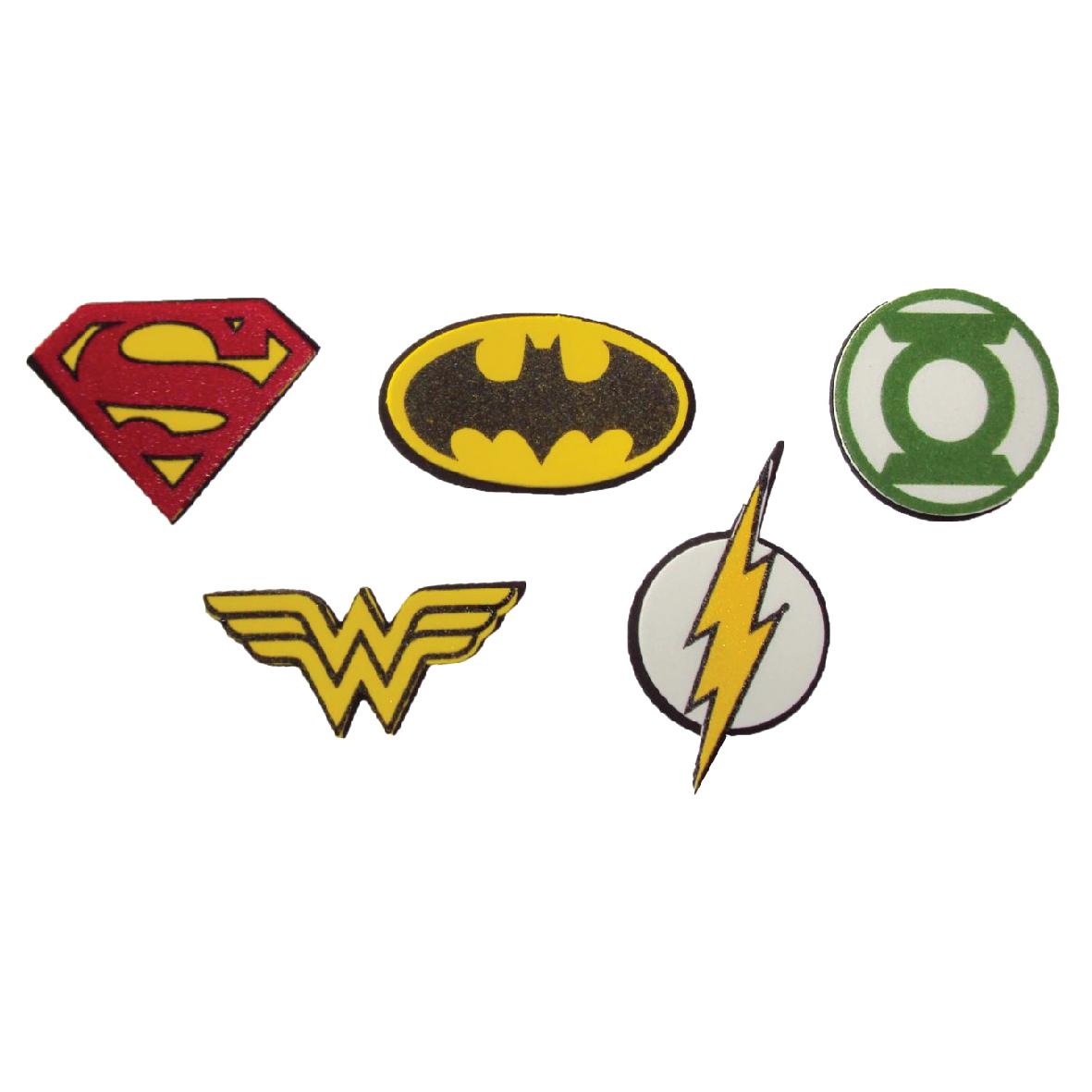 Micro Simbolos Liga da Justiça c/ 5 un 1